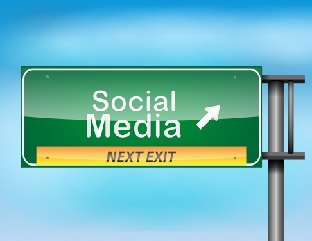 Glossy highway sign with Social Media text on a blue background. Illustration