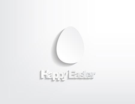 Happy Easter with a egg sticker on a white background. Vector