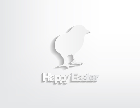 Happy Easter with a chicken sticker on a white background. Vector