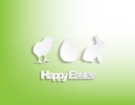 Happy Easter with a bunny, egg and a chicken sticker on a green background. Vector