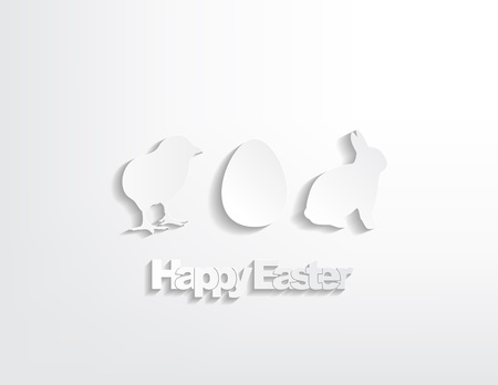 Happy Easter with a bunny, egg and a chicken sticker on a white background. Vector