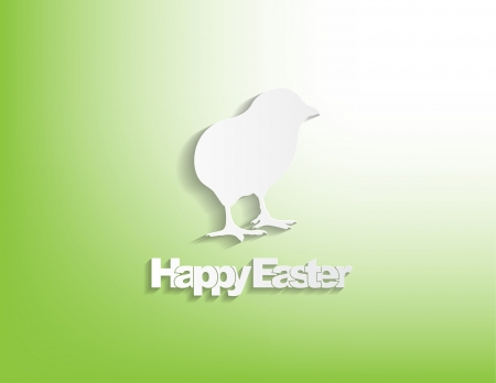 Happy Easter with a chicken, sticker on a green background. Vector