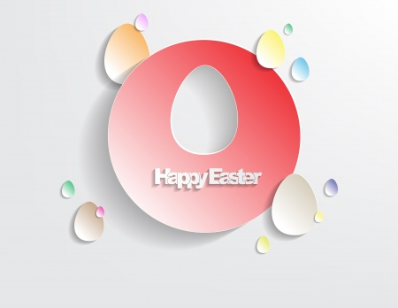 Happy Easter Background with sticker eggs, simple background Vector