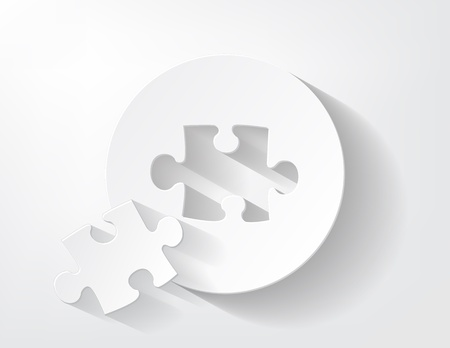 Piece of puzzle cut out from a piece of paper with a nice shadow Stock Vector - 17624292