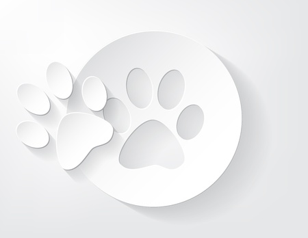Piece of animal trace cut out from a piece of paper with a nice shadow  Vector