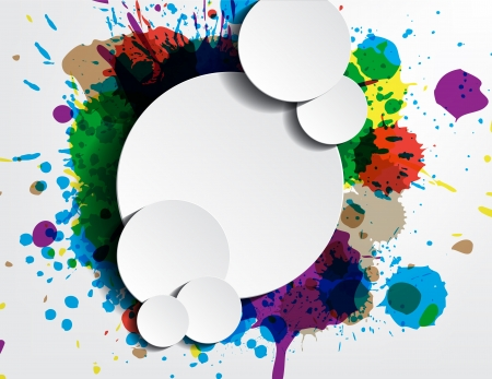 rainbow sphere: paint wallpaper with bubbles for your text as stickers. Illustration