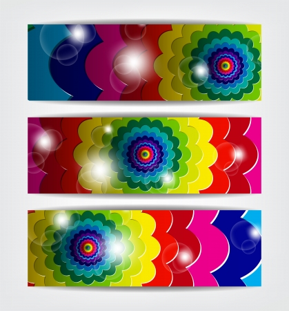 Multi color banners going to infinite with sparkles. Stock Vector - 17624264