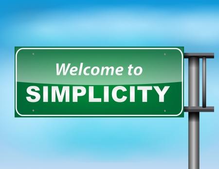 humildad: Bienvenido al concepto de signo sencillez carretera en un cielo azul Vectores