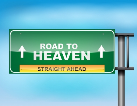 Image of a glossy highway sign on blue sky Stock Vector - 17624227