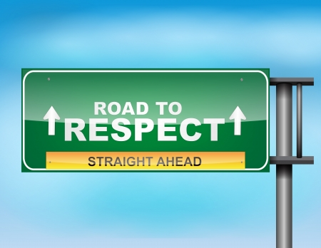 dignity: Image of a glossy highway sign on blue sky
