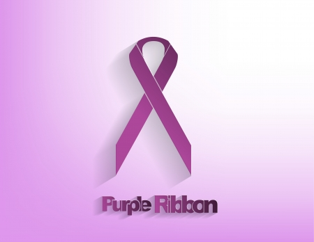 Purple awareness Ribbon on a purple background.