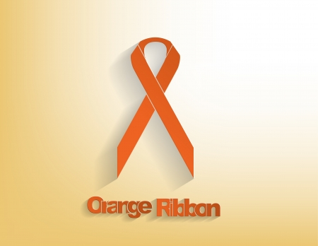 Orange awareness Ribbon on a orange background. Vector