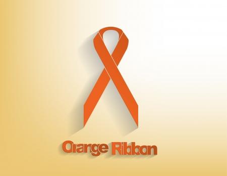 hyperactivity: Orange awareness Ribbon on a orange background.