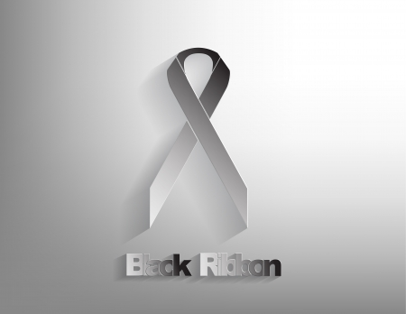 Black awareness Ribbon on a black background. Vector