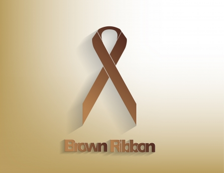 colorectal cancer: Brown awareness Ribbon on a brown background.
