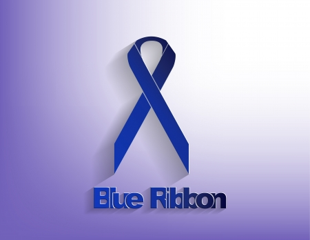 disease prevention: Blue awareness Ribbon on a blue background.