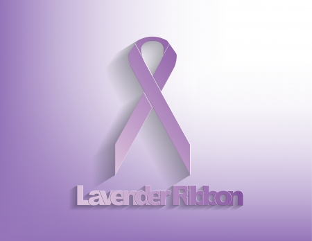 navy blue background: Lavender awareness Ribbon on a lavender background.