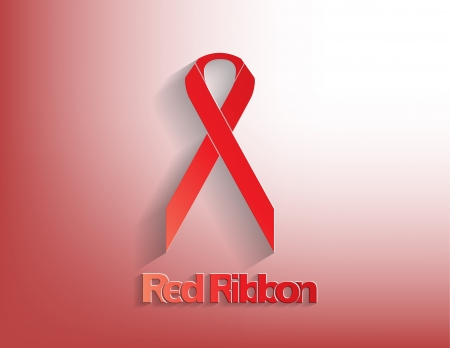 Red awareness Ribbon on a Red background. Stock Vector - 17624214