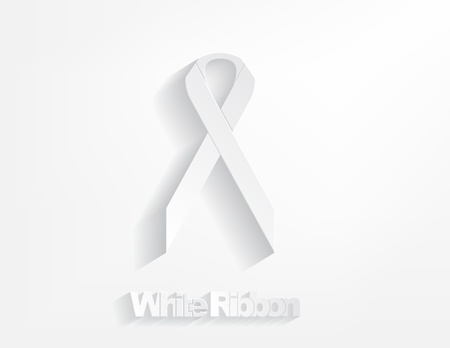 White awareness Ribbon on a white background. Stock Vector - 17624250