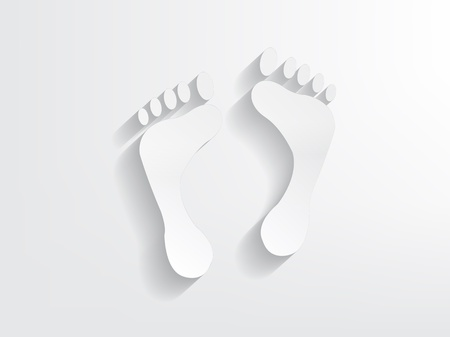 adult footprint: Foot print shapes formed from paper with a nice shadow effect.