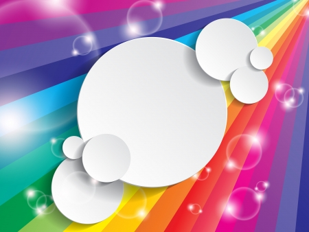 rainbow colours: Bright multicolored background with space for text on a paper circle Illustration