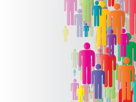 human energy: Abstract business background with multicolored man symbols on the right