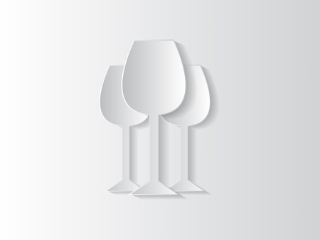 Abstract sticker background with wine glasses and space for text. Vector