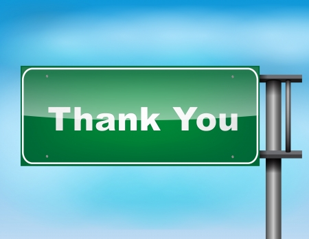 thank you sign: Road sign concept with the text Thank