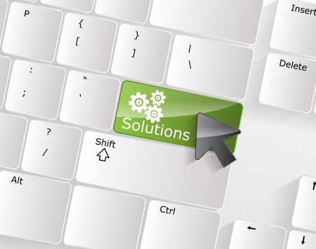 green road: Computer Keyboard with solutions Key and a black arrow on it. Illustration