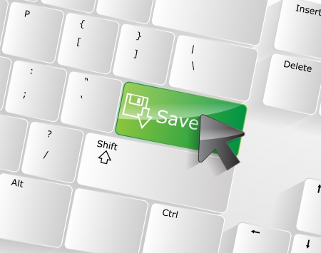 Computer keyboard - green key Save, close-up with a mouse over  Vector