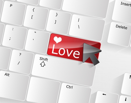 Computer keyboard - red key Love, close-up with a mouse over  Stock Vector - 17853388