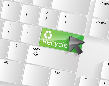 Computer keyboard - green key Recycle, close-up with a mouse over  Stock Vector - 17853390