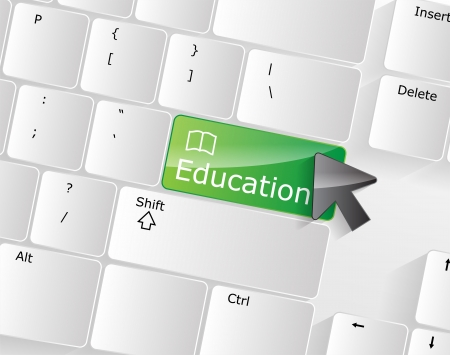 Computer keyboard - green key Education, close-up with a mouse over  Stock Vector - 17853405
