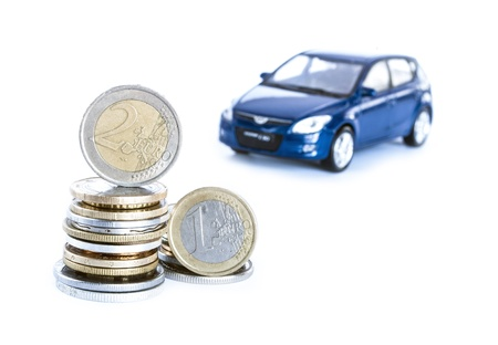 money   a blue car isolated on the white background photo