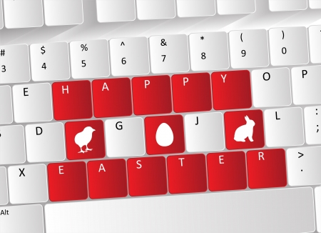 Happy Easter Keyboard Concept with red buttons and Easter icons. Stock Vector - 17853416