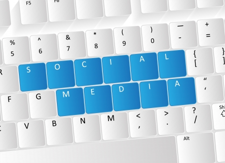 Social Media Keyboard Concept with blue buttons. Stock Vector - 17853450