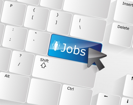 job search: Jobs Keyboard Concept with glossy blue Enter button.