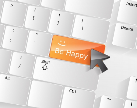 Be Happy Keyboard Concept with orange glossy button. Stock Vector - 17853413