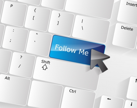 Follow me Keyboard Concept with a blue glossy button. Vector