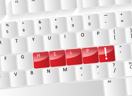 Help Keyboard Concept with red buttons and a exclamation symbol. Stock Vector - 17853447