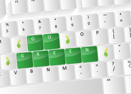 Go green Keyboard Concept with green buttons and leafs. Stock Vector - 17853449