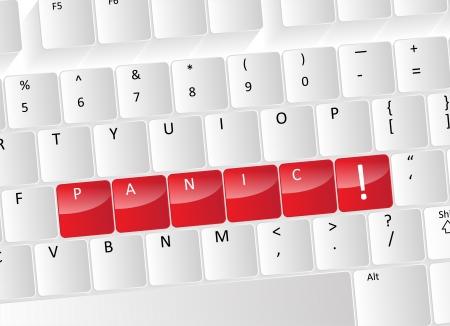 paniek: Panic Keyboard Concept met rode knoppen en een uitroepteken symbool.