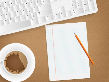 old pc: Desk concept with a blank paper, a cup of coffee and a keyboard.