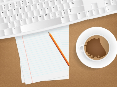 Desk concept with a blank paper, a cup of coffee and a keyboard. Vector
