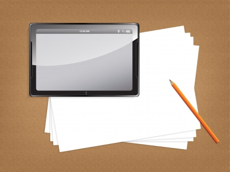 owning: Desk concept with a blank paper and a modern tablet with space for text. Illustration