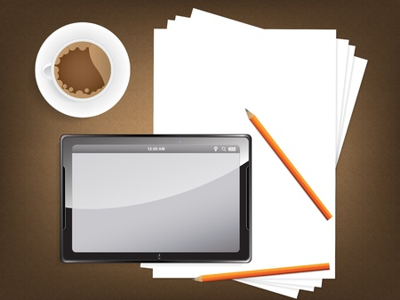 blogger: Desk concept with a blank paper, a cup of coffee and a modern tablet with space for text. Illustration