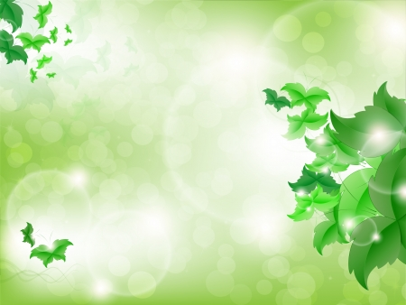 Environmental Background with green leaf butterflies on a light green background with bokeh lights. Stock Vector - 17965689