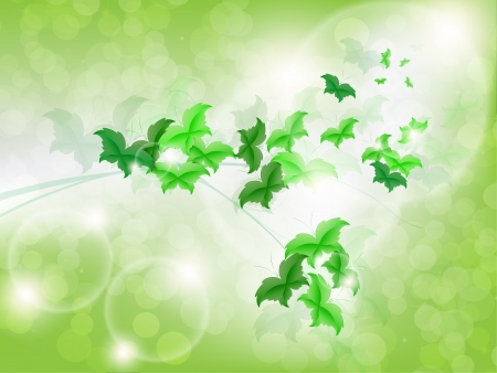 Environmental Background with green leaf butterflies on a light green background with bokeh lights. Stock Vector - 17965695
