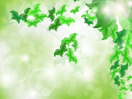 Environmental Background with green leaf butterflies on a light green background with bokeh lights. Stock Vector - 17965690