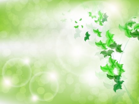 Environmental Background with green leaf butterflies on a light green background with bokeh lights. Stock Vector - 17965688
